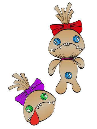 A sad rag doll with a bow on his head and dead doll's head. Vector illustration.