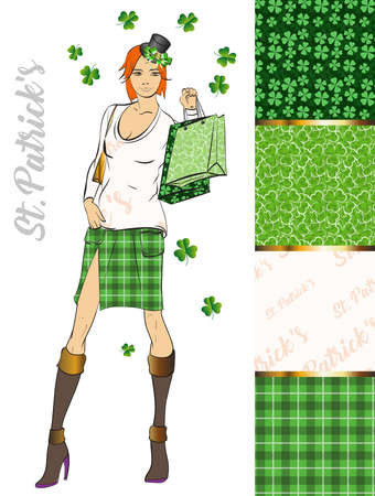 Set of St. Patricks Day Patterns. A fashionable texture set on St. Patricks Day. Lovely girl in a hat on a background of textures with leaves of a clover. Cute leprechaun girl. Illustration