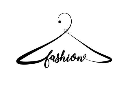 Creative fashion logo design. Vector sign with lettering and hanger symbol. Logotype calligraphy Ilustração