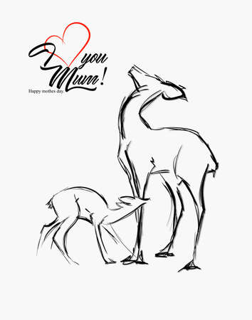 Deers family illustration. Flat sketches wild animals. Mothers day creative vector card