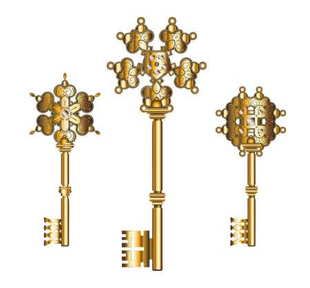 Collection of antique golden keys vector vintage keys. Illustration