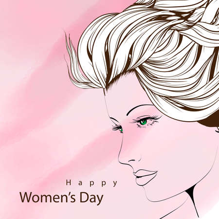 Happy Women's day, illustration with a cute female face on a pink background. Banque d'images - 96116326