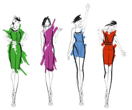 Stylish fashion models, pretty young girls. Fashion girls sketch.