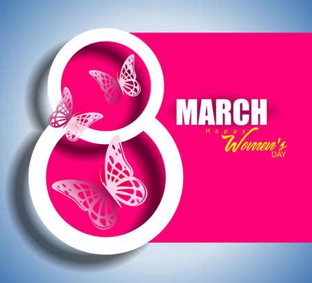8 de marzo, día internacional de la mujer con tarjeta de felicitación de ilustración de vector de mariposa. Ilustración de vector