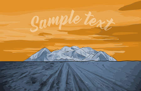 Mountain vector illustration of a sunset in a deserted landscape, with a rock and traces of wheels on the ground. Panorama background banner and poster.