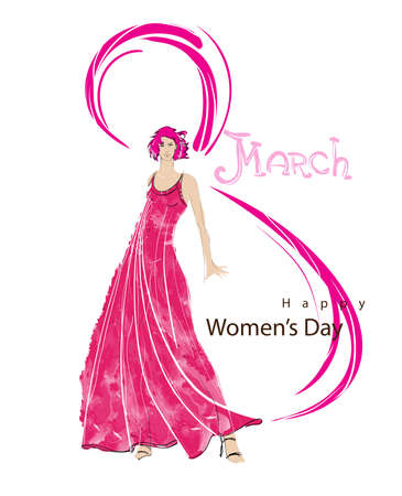 Happy Womens Day greeting card or background with happy fashion women on a white background.