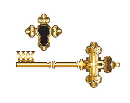 Golden key with Orthodox Christian symbols. An ancient key of faith.