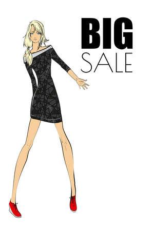 Fashion girl in a little black dress. Vector illustration. Stock Illustratie