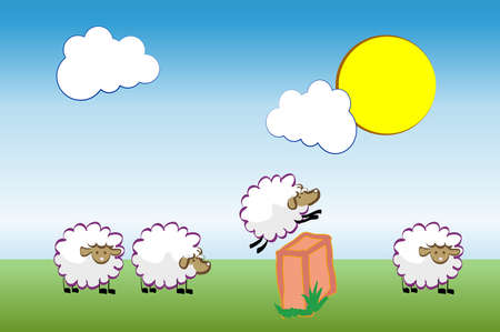 Insomnia concept. Sheep jumping over fence. Vector illustration.