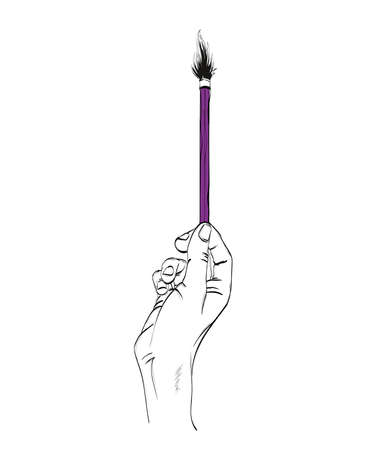 Drawing hand with brush. Vector hand drawn illustration. Element for your design.
