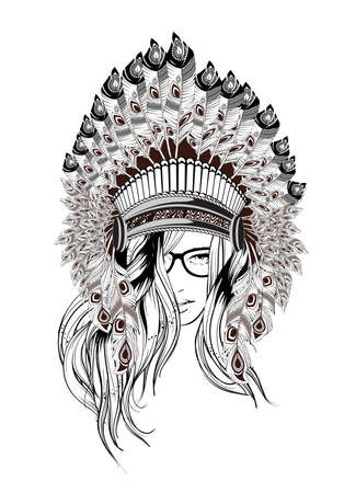 Indian girl. Navajo - Aztec - Indian girl vector illustration. Beautiful girl in a headdress of North American Indians. Illustration for tattoos and dazain clothes, posters, fashion shows.
