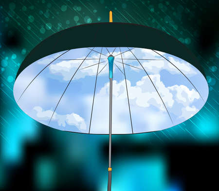 Realistic umbrella. Open umbrella on rain and blue sky background. Vector illustration