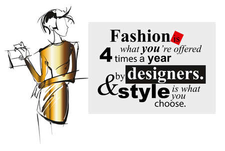 Fashion girl sketch. A girl with a handbag against the backdrop of a fashionable quote.