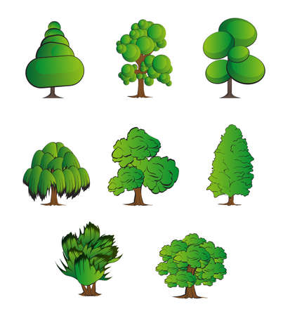 Set of abstract stylized trees. Natural illustration. Collection of trees illustrations. Can be used to illustrate any nature or healthy lifestyle topic.
