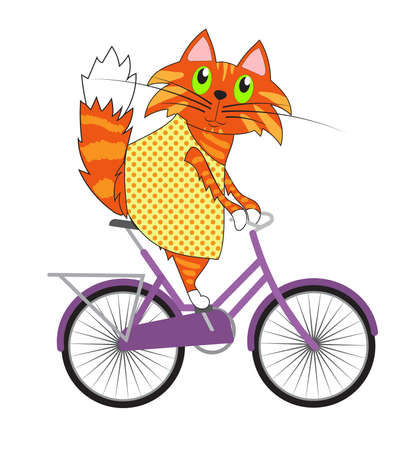 Cat on a bicycle, vector illustration. Ginger kitty on a violet bicycle. Cartoon spring illustration.  イラスト・ベクター素材