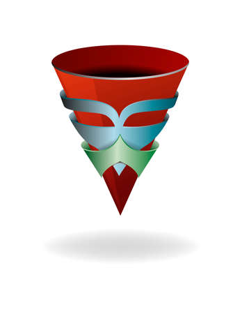 Abstract illustration with a conical cup in a mask. Magic cup.