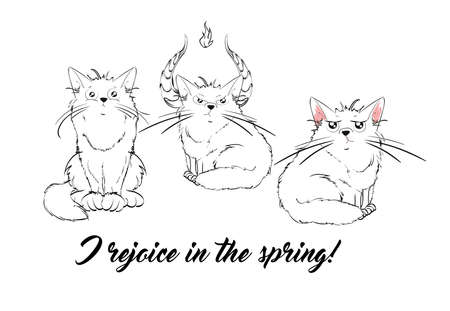 Vector series with cute spring cats. Stylish kitten set. Illustration in sketch style t-shirt print, cards, poster.