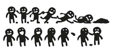 Set of vector people. Mini-comics. The man spat and was punished. The man stumbled. Illustration