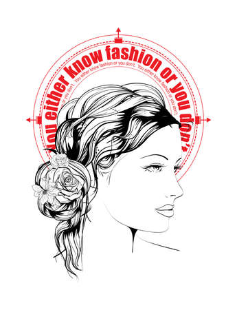 You either know the fashion or you don't -  Illustration of fashion with a quote. 일러스트