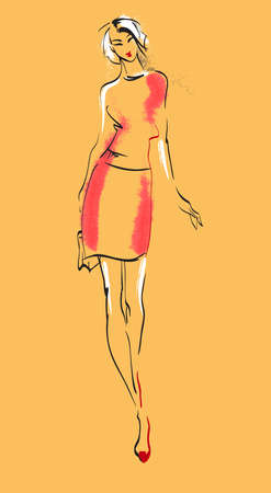 Fashion illustration. Stylish fashion models. Fashion girl Sketch. A girl in a dress. Illustration