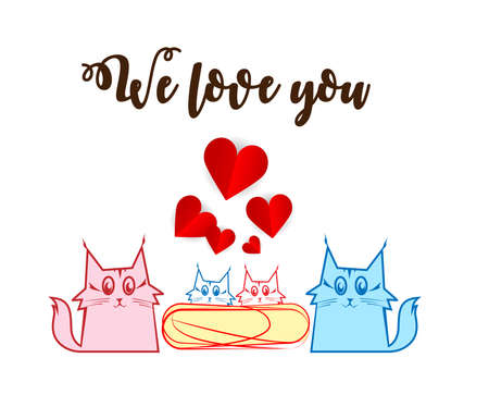 Family of feline with phrase We love you Illustration
