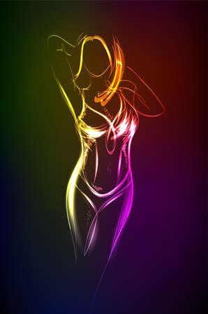 Hand-drawn fashion model from a neon. A light girls. Fashion illustration.