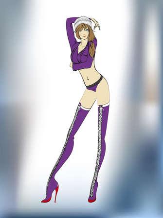 Fashion illustration. Stylish fashion models. Fashion girl Sketch. Illustration
