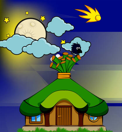 Fairy-tale house with a green roof and a bird on a cartoon sky backdrop. Vector illustration