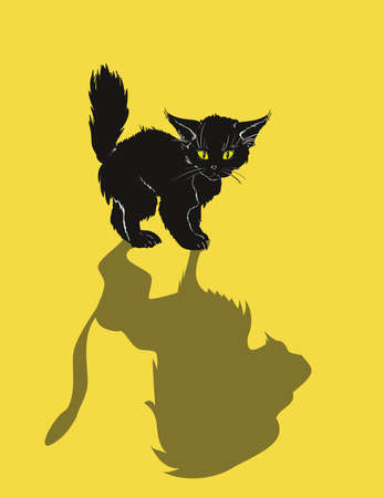 A cute black kitten and a lion's shadow, on a yellow background. Kitten dream. Vetores