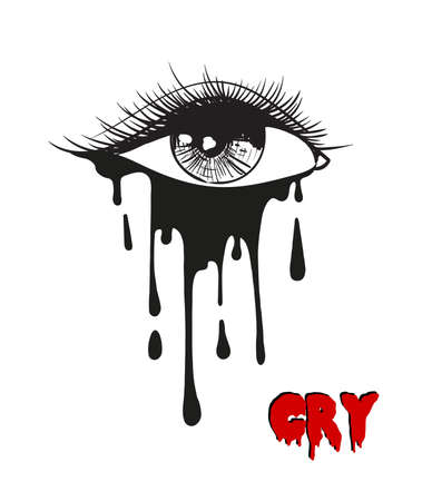 Vector beautiful illustration with crying eye. Black illustration. Women's watery eyes. Eyes with flowing mascara on isolated background.
