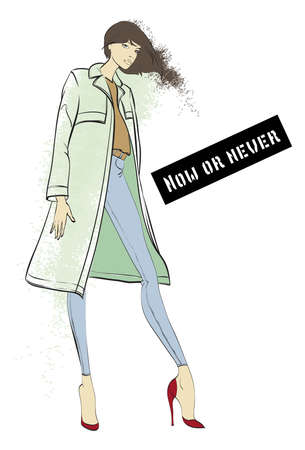 Fashion illustration. Stylish model with an inscription. Fashion girl Sketch. Girl in the coat