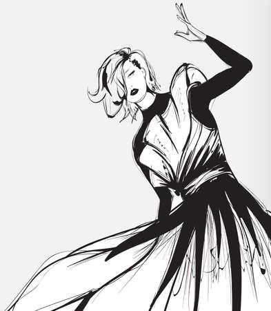 Black and white retro fashion model in sketch style. Hand drawn vector illustration Illustration