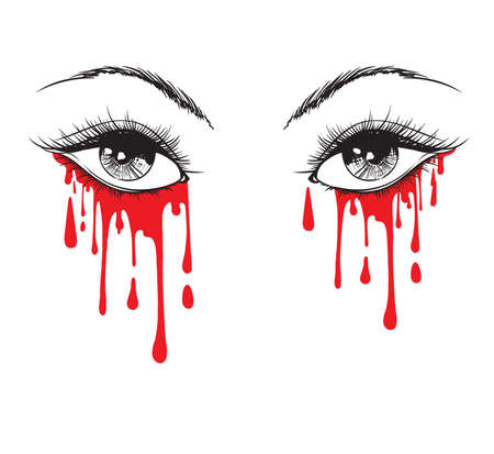 Vector beautiful illustration with crying eyes. Womens watery eyes. Eyes with flowing mascara on isolated background. Illustration