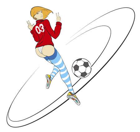 Sexy Soccer Football Female Player. Vector illustration. Fashion girl.