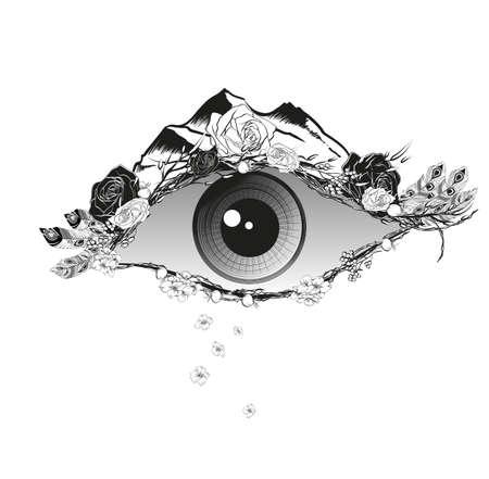 Illustration abstraite d'un oeil avec des fleurs de roses de chien, de plumes et de montagnes. Imprimez sur une chemise ou un tatouage. Vecteurs