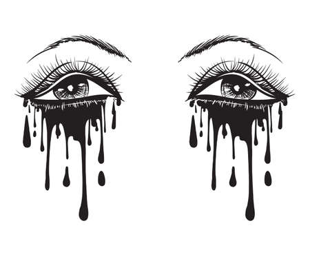 Vector beautiful illustration with crying eyes. Womens watery eyes. Eyes with flowing mascara on isolated background. 일러스트