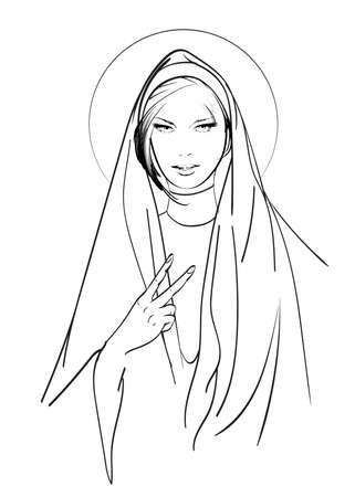 A beautiful nun. Religion, God, faith and sins. Fashion & Style. Vector illustration for a postcard or a poster, print for clothes. Illustration
