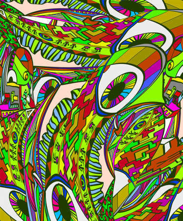 Abstract surreal vector background. Crazy bright background with eyes. Illustration of madness. Illustration