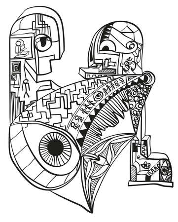 Abstract doodle designs. Surrealistic drawing of modern society. Vector illustration.