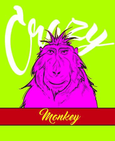 Crazy monkey . Vector monkey in bright colors. Vector sketch.