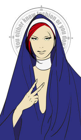 Fashion model in the clothes of a nun with an inscription on the nimbus. Religion, God, faith and sins. Fashionable style.You either know fashion or you don't.