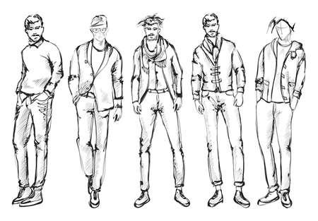 Uomo di moda. Set di schizzi di uomini alla moda su uno sfondo bianco. Uomini di primavera.