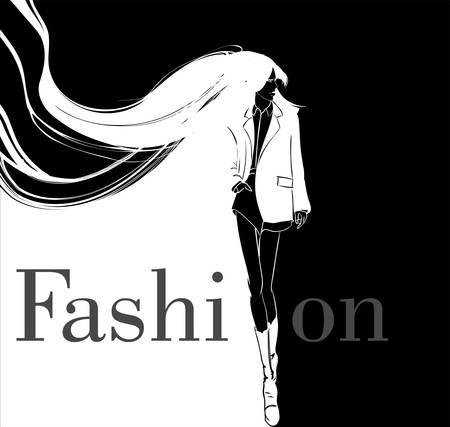Stylish fashion model. Pretty young girl. Fashion girl Sketch Vectores