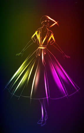 Hand-drawn fashion model from a neon. A light girl's. Fashion illustration. Vector Illustration