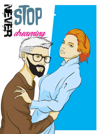 Fashionable guy and girl in the arms. Love and fashion illustration Ilustración de vector