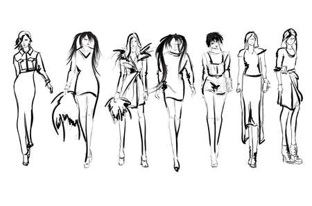 Sketch. Fashion Girls on a white background. Vector illustration.