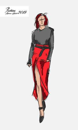 Fashion girl Sketch. Stylish fashion model. Pretty young girl.