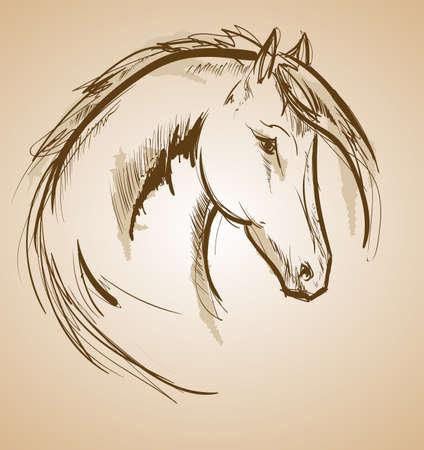 Icona di schizzo del cavallo. Criniera d'ondeggiamento del cavallo di vettore. Simbolo di stallone cavallo selvaggio per la mostra del concorso di gare equestri o di sport equestri Vettoriali