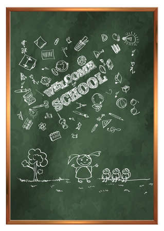 Back to school. Green school board with drawings on the theme of education