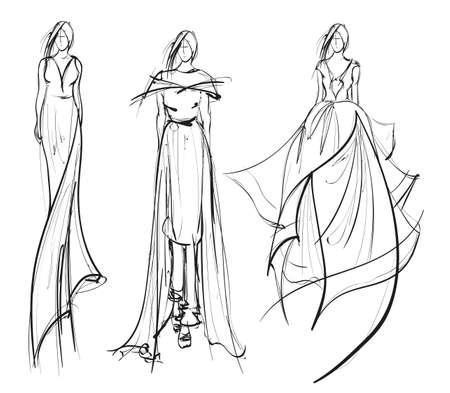 Esquisser. Belle fille de mode. Modèle de mariée de mode dans une robe de mariée. Illustration vectorielle.